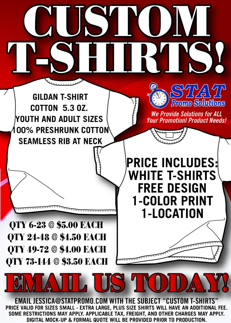 Stat promo solutions custom t shirts apparel for Custom t shirt cost